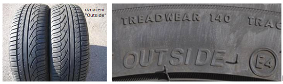 Asymetrické pneumatiky – rozlišení