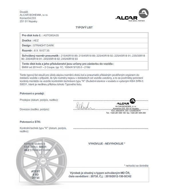Typový list Alcar