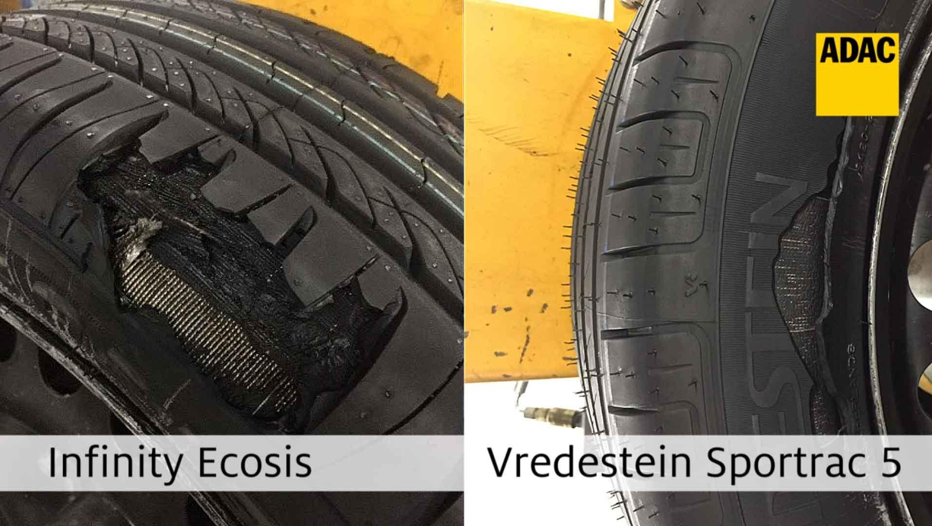 Zničené pneumatiky Infinity a Vredestein