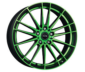 Dotz Fast Fifteen green 8x18 5x108 ET45 Leštěná čelní plocha / Zelený lak / Černý lak