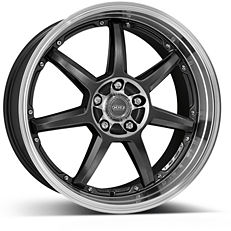 Dotz Fast Seven 8x17 5x114,3 ET48 Leštěný střed a límec / Metalicky šedý lak