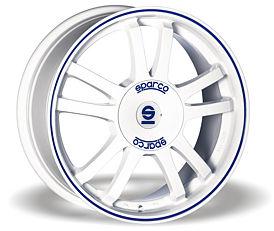 Sparco Rally (WB) 7x16 4x108 ET25 Bílý lesk / Modrý proužek