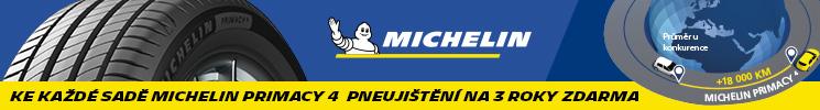 Ke každé sadě Michelin Primacy 4 pneujištění na 3 roky zdarma